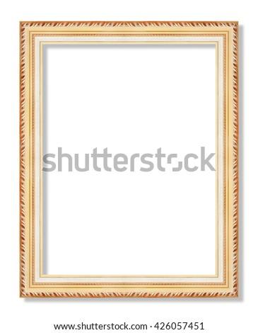 antique frame ,gold frame on the white background - stock photo