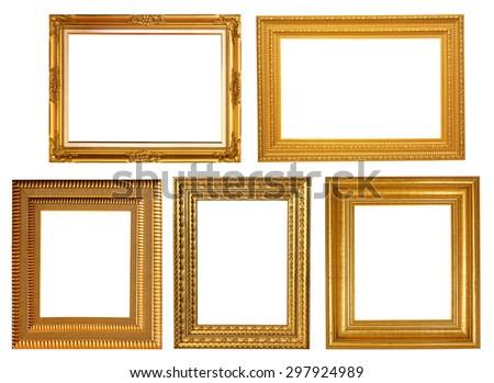 antique gold frame - stock photo