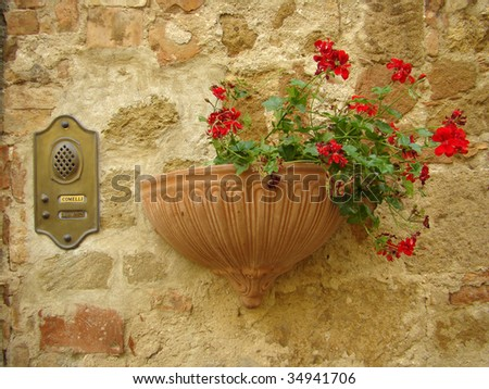 antique italian intercom and red geranium - stock photo