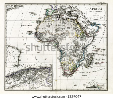 1872 Antique Map Africa by Stieler