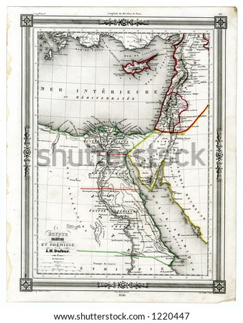 1846 Antique Map of Ancient Egypt and Phonecia - stock photo