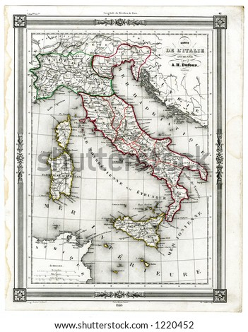 1846 Antique Map of Ancient Italy - stock photo