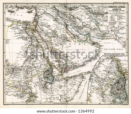 1875 Antique Map of Arabia and Egypt - stock photo