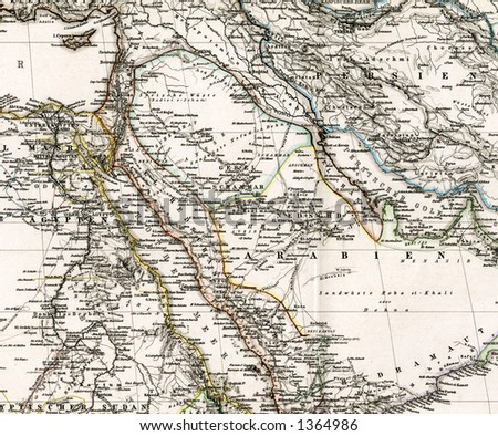 1875 Antique Map of Arabia Iraq Middle East - stock photo