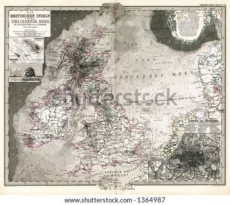 1875 Antique Map of British Isles and North Sea