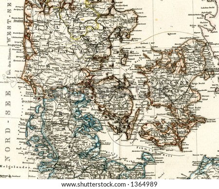 1875 Antique Map of Denmark