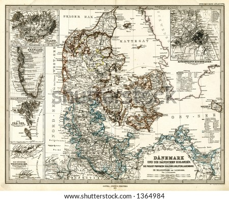 1875 Antique Map of Denmark Greenland Iceland - stock photo