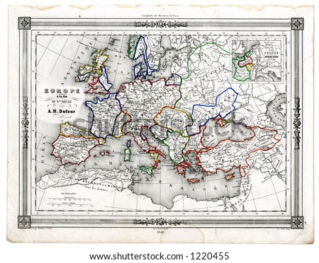 1846 Antique Map of Europe in the 10th Century - stock photo