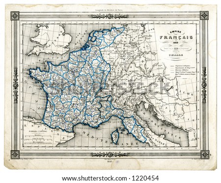 1846 Antique Map of France in 1789 at the time of the Revolution