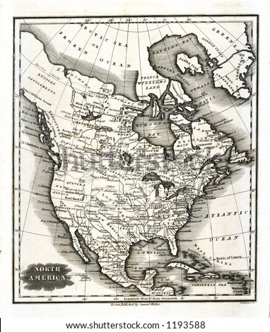 1799 Antique Map of North America  United States Canada Mexico