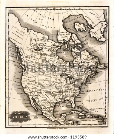 1799 Antique Map of North America  United States Canada Mexico Brown version