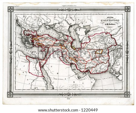 1846 Antique Map of the Empire of Alexander the Great - stock photo