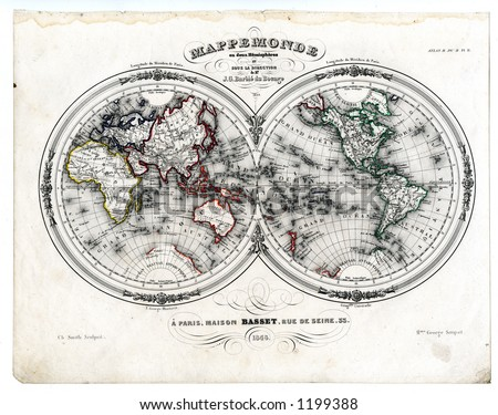 1846 Antique Map of World in Hemispheres