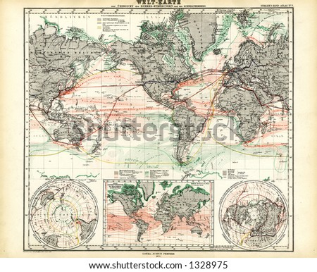 1872 antique map world ocean currents stock illustration 1328975 1872 antique map of world ocean currents gumiabroncs Choice Image