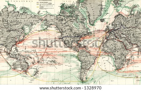 1872 Antique Map of World Ocean Currents Detail - stock photo