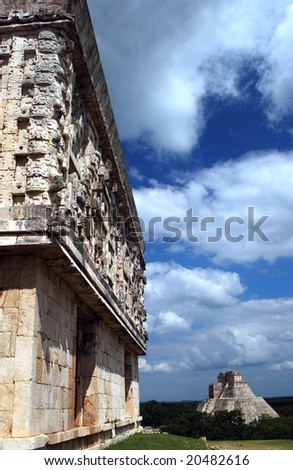 Antique mayan ruins in Mexico - stock photo