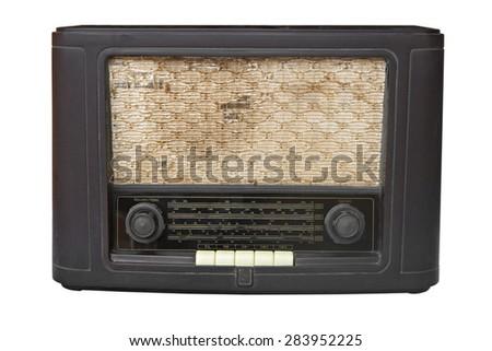 Antique radio on isolated white - stock photo