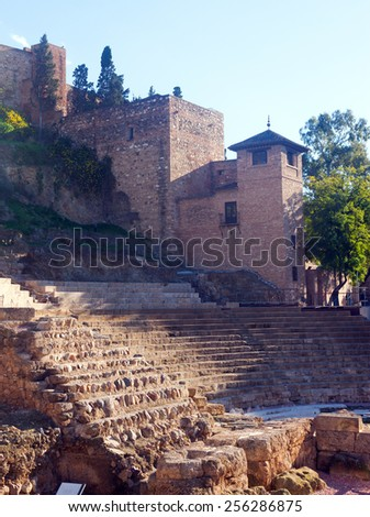 Antique   Roman Theatre ans castle at Malaga. Spain - stock photo