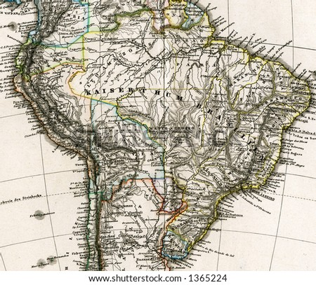 1875 Antique Stieler Map of South America Detail Brazil - stock photo