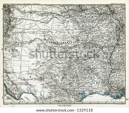 1872 Antique Stieler Map of South Central United States Texas - stock photo