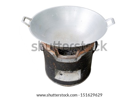 Antique stove with Iron pan on white background .  - stock photo