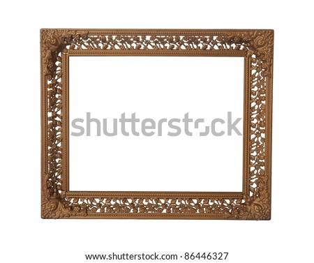 Antique wooden frame isolated on white background - stock photo