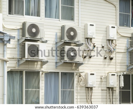 Apartment Air Conditioner Outdoor Unit Water Stock Photo 639363037 ...