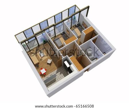apartment  interior. 3d render - stock photo