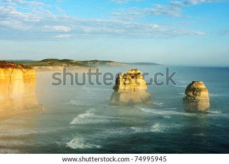 12 Apostles, Great Ocean Road, Victoria, Australia, on a bright sunny day - stock photo