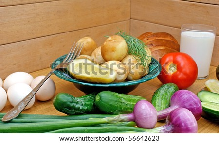 appetizing boiled potatoes and  palatable makeup vegetable -country food