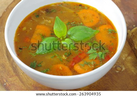 appetizing cabbage soup in a clay pot  - stock photo
