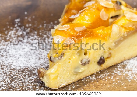 Apple pie.  Piece of fresh apple pie on a wooden  background with copy space. Close up. Shallow DoF - stock photo