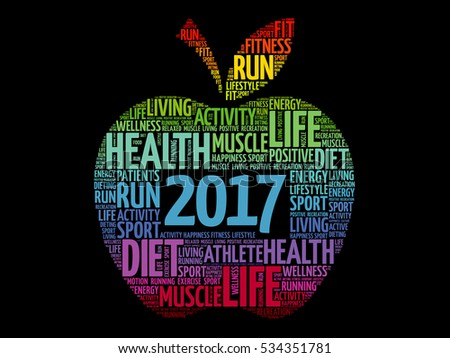 2017 apple word cloud collage, health goals concept background