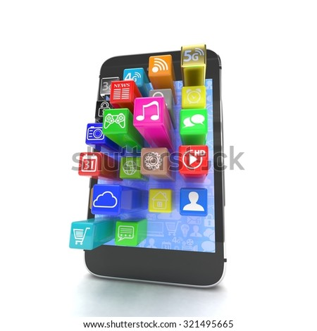 application software icons extruding from smartphone, isolated on white