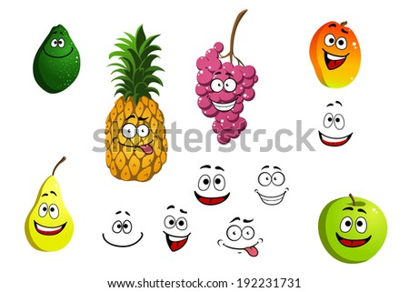 Apricot, pineapple, apple, pear, grape and lemon fruits in cartoon style isolated on white. Vector version also available in gallery - stock photo