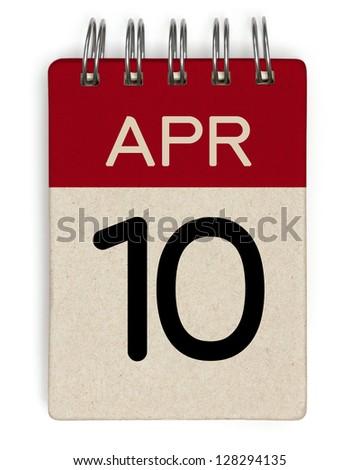 10 april calendar - stock photo