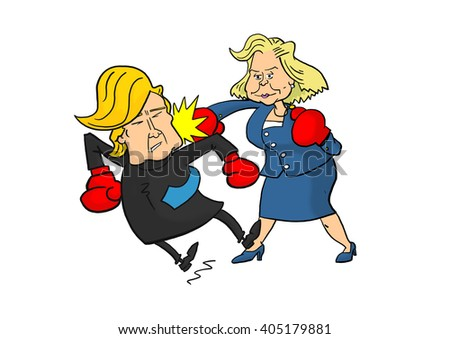 13 April, 2016: Hillary Clinton beating Donald Trump - stock photo