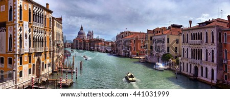 2016, APRIL, 19, Italy, Venezia, Gondolas on canal in Venice, grand canal, 2016, APRIL, 19, Italy, Venezia - stock photo