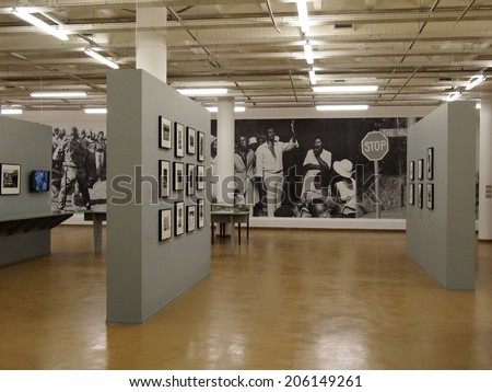 30, April - 2014. Johannesburg. South Africa. Exhibition hall of Apartheid museum.  - stock photo