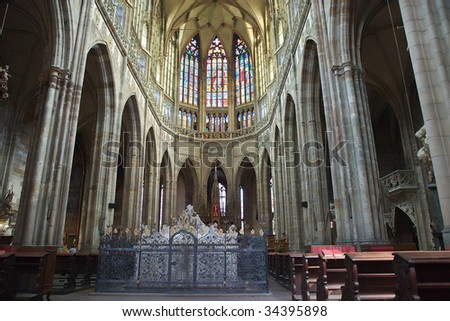 Arches and columns of the Cathedral of St. Vitus in Prague. - stock photo
