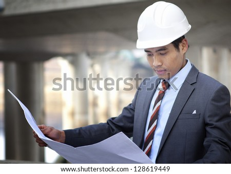 Architect highway construction site - stock photo