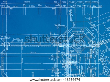 architectural drawing, made by hand on a blue background - stock photo