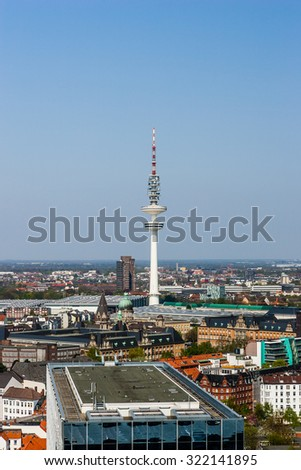 Ariel view of Hamburg communication tower. - stock photo