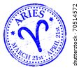 """ARIES"" Star sign rubber stamp illustration - stock vector"