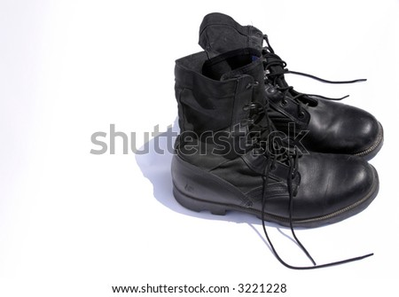 """""""army boots"""" isolated on white - stock photo"""