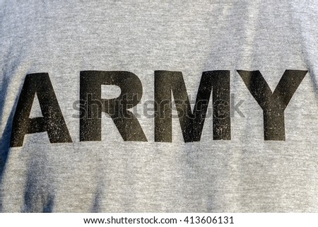 Army patch on solder's uniform - stock photo