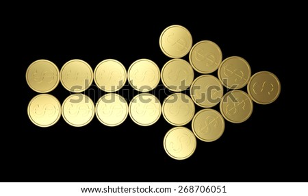 Arrow of golden coins isolated on black background - stock photo