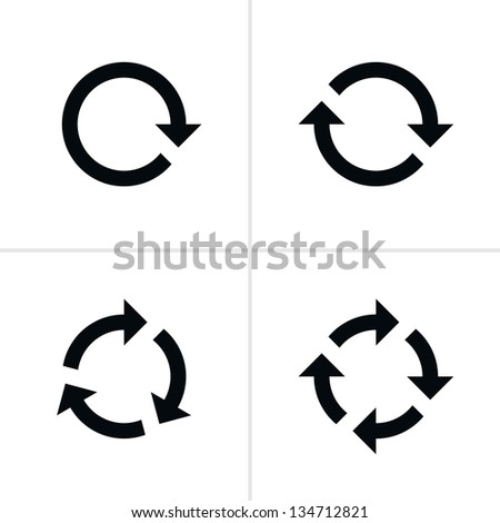 4 arrow pictogram refresh reload rotation loop sign set. Volume 02. Simple black icon on white background. Modern mono solid plain flat minimal style. Image is a bitmap copy my vector illustration - stock photo