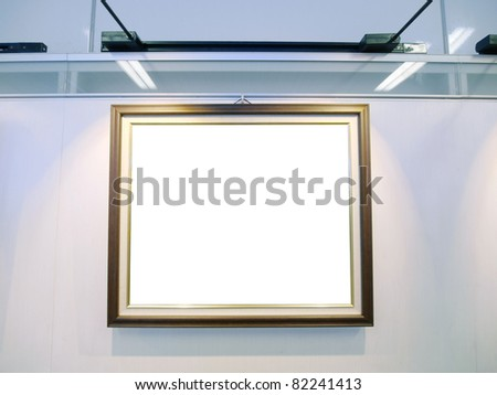 Art gallery with blank canvas - stock photo