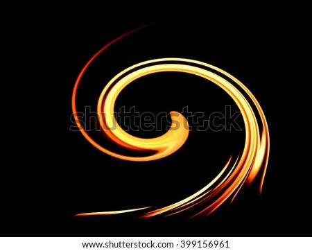art of twirl fire on black background - stock photo
